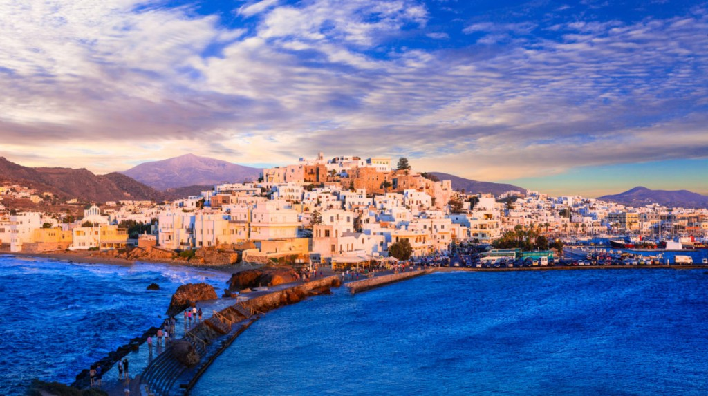Naxos island over sunset, Greece,