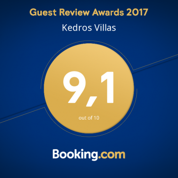 Kedros Villas wins Booking.com Guest Review Award 2017