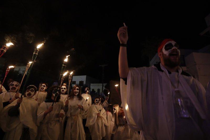 Torch parade Naxos island
