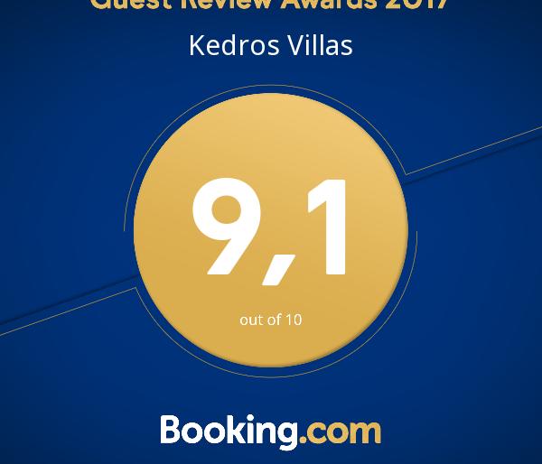 Kedros Villas wins Booking.com Guest Review Award 2017
