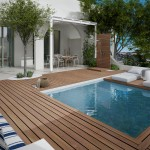 Garden with private pool, sunloungers, outdoor shower and seating area